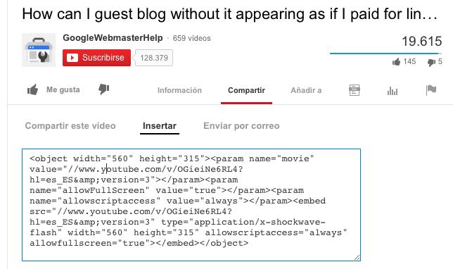 insertar video de youtube