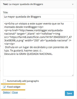 widget fijo wordpress